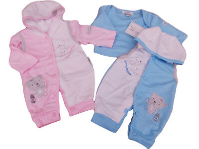 BNWT Tiny baby Premature Preemie hooded teddy romper and top in pink or blue