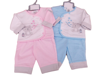 BNWT Tiny baby Premature Preemie  teddy  top and trousers suit in pink or blue