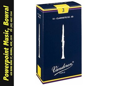 Vandoren Traditional Bb Clarinet Reeds # 3 Strength Box of 10! + Free Postage