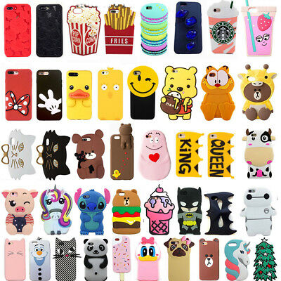 Hot 3D Cartoon Soft Silicone Phone Case Covers Skin For iPhone X 7/7Plus 8/8Plus