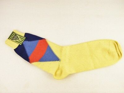 NOS Vintage 1950's Style Towr Argyle Socks Yellow Blue Red Men Size 12