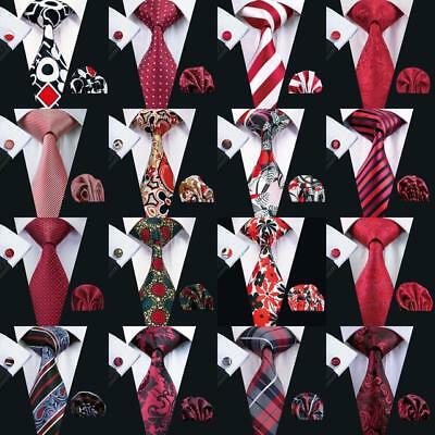USA Red Necktie Mens Paisley 100% Silk Tie Striped Plaids Jacquard Wedding Set