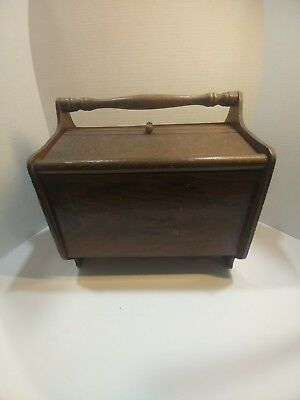Sweet Vintage Wooden Sewing Box with contents and Hinged Lids