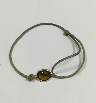 """Cognac"" Quartz & 18K Yellow Gold adjustable cord Bracelet"