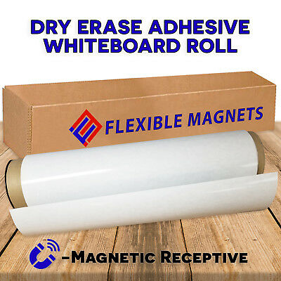 """12"""" x 24"""" Dry Erase Whiteboard Sheet with Adhesive on Back - Magnetic Receptive."""
