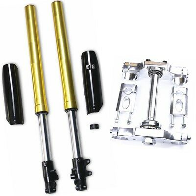 Front Fork Shock Suspension Triple Tree Clamp Combo For CRF50 Pit Pro Dirt Bike