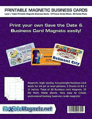 3 Inkjet Printable Magnetic Sheet Business Cards. Pre-cut Cards 30 Cards total