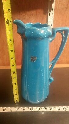 "12"" Vintage CAMARK Art Pottery BLUE PITCHER 1930s/1940s (shelf5)"