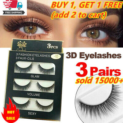 SKONHED 3 Pairs Soft False Eyelashes Extension Long Mink Lashes Beauty Makeup