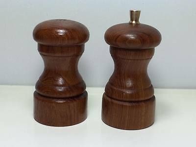 Vintage mid century walnut wood salt and peppermill  made in Denmark