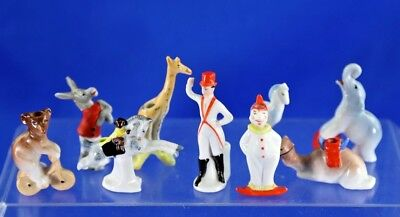 Antique German Porcelain 9 Piece Circus Cake Candle Toppers