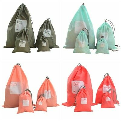 4PCS Waterproof Laundry Shoe Travel Pouch Portable Tote Drawstring Storage Bag