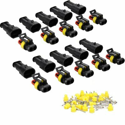 10Set Car 2 Pin Way Superseal Waterproof Electrical Terminal Wire Connector Plug