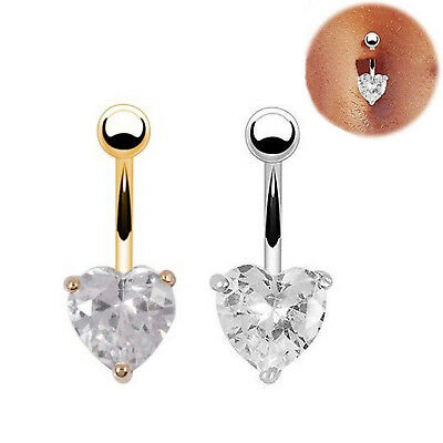 Navel Rings Belly Crystal Rhinestone Button Bar Heart Star Body Pierc Jewelry HI