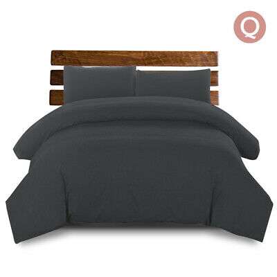 Giselle Bedding Luxury Classic Bed Duvet Doona Queen Quilt Cover Set Hotel Black