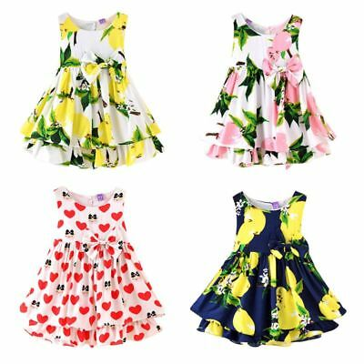 AU Toddler Girls Summer Floral Print Tutu Dress Baby Wedding Party Sundress 2-7Y