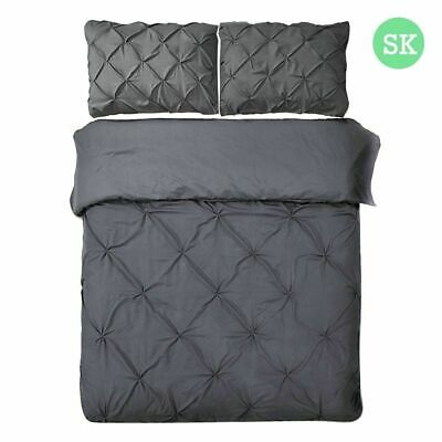 Giselle Bedding Pinch Pleat Diamond Duvet Doona Quilt Cover Set SK Charcoal