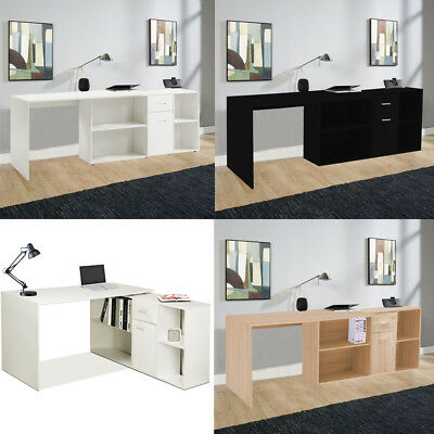 L-Shaped Office Computer Desk Large Corner PC Working Table with Shelves Cabinet
