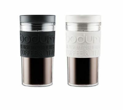 Bodum 0.35L Double Wall Travel Mug Insulated Screw Top Plastic Flask Black White