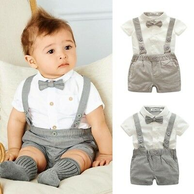 Baby Kid Boys Gentleman Formal Suit Bowtie Romper Jumpsuit Tuxedo Outfit Clothes