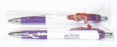 "Drug Rep ACTOS Collectible Pens x 2 with ""MUSCLE"" Character on Clip RARE"