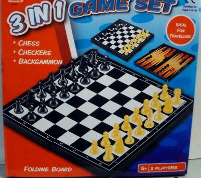 BRAND NEW A to Z 3 IN 1 CHESS SET BOARD GAME CHESS-CHECKERS-BACKGAMMON GAME SET