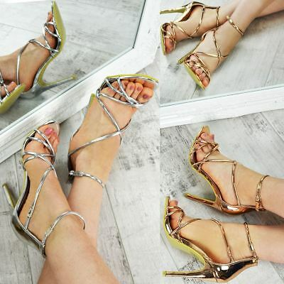 Womens Ladies Stiletto High Heels Party Evening Strappy Sandals Sexy Shoes Size