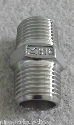 "STAINLESS STEEL 316 BSP EQUAL HEX NIPPLE - 1/8"" To 4""  -  RATED 150lb"