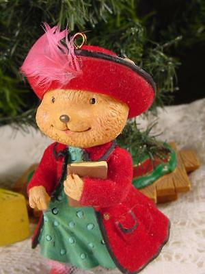 CUTEST Victorian lady BEAR CHRISTMAS TREE ORNAMENT real feather plume in hat