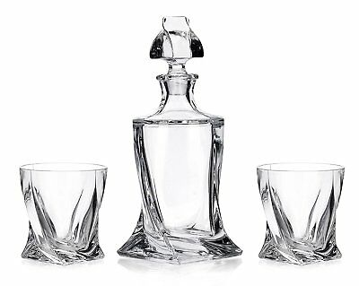 Crystal Glass Bar Decanter Spirits Set 850ml + 2 x 340ml Tumbler Quadro