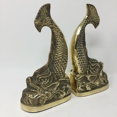 Oriental Brass Fish Book Ends Mid Century Neoclassical Nautical Vintage