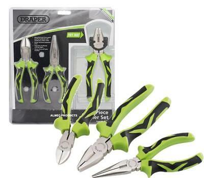 Draper 3 Piece Pc Wire Side Cutter, Combination & Long Nose Plier Set GREEN 1538