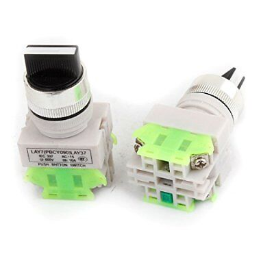 2 Pcs Illuminated 2 Position Rotary Type Push Button Switch DPDT 660V
