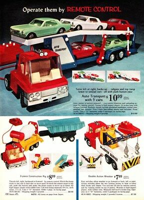 1968 Xmas cat pg Battery Operated Auto Transport with 5 1964 Ford Mustangs