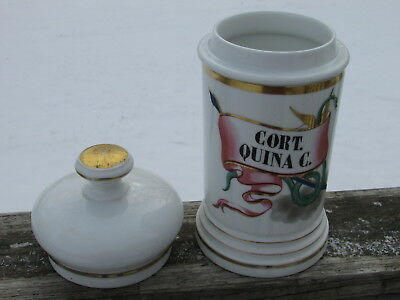 Lg Early DRUGSTORE PHARMACY Apothecary CORT QUINA C. Porcelain JAR w/ORIG LID !!