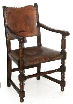 Antique Cromwellian Mahogany Carver Arm Chair - FREE Shipping [PL4219]
