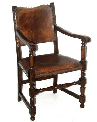 Antique Cromwellian Mahogany Carver Arm Chair - FREE Shipping [PL4220]