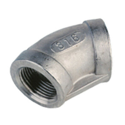 "STAINLESS STEEL 316 BSP 45 ELBOW - 1/8"" To 4""  -  RATED 150lb"