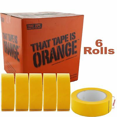 JTape 1125.2450 24mm x 50m 100°C Water-Proof Orange Fine Line / Masking Tape x6