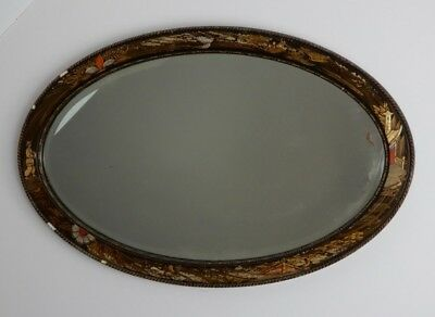 Antique,mirror,Chinoiserie,wall mirror Oriental, 20's lacquered oval wall mirror