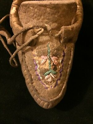 Antique Native American Iroquois Quilled Hide Moccasins