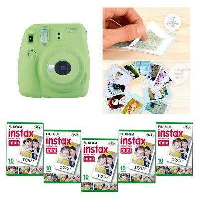 Fujifilm Instax Mini 9 Camera Lime Green 5 Packs Fuji Film 50 Photo 8