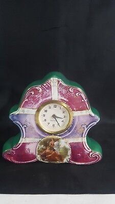 Vintage Greek Stye Porcelain Mantel Clock,German MERCEDES Wind Up Movement.