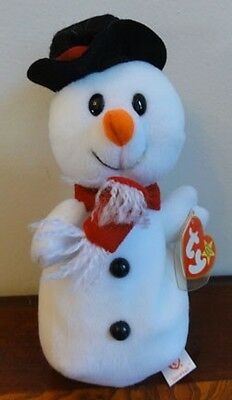 """1996 TY BEANIE BABIES BABY  SNOWBALL the SNOWMAN   MWMT 8"""" STYLE 4201"""