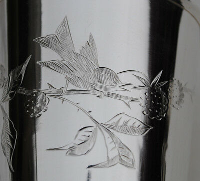 ANTIQUE FRENCH STERLING SILVER Wine Cup, Timbale or Beaker Cup BIRD & FLOWER