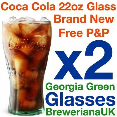 Set Of 2 Coca Cola Coke 22oz Glasses Brand New 100% Genuine Official