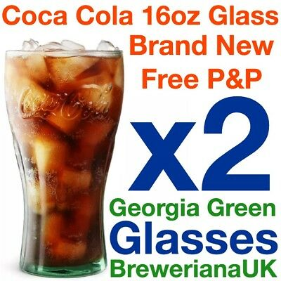 Set Of 2 Coca Cola Coke 16oz Glasses Brand New 100% Genuine Official