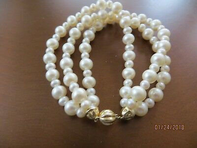 """Beautiful White Sea Pearls bracelet 3 rows,5-8 mm size/14k white gold clasp 7"""""""