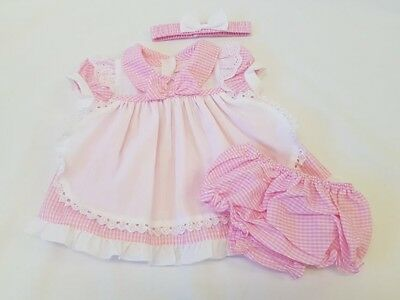 BNWT Baby Girls Pink Gingham Pinny Dress, Headband & Knickers 0-24 month