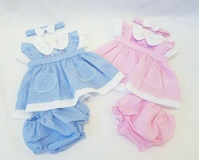 BNWT Baby Girls Pink or Blue Gingham Dress, Headband & Knickers 0-9 months